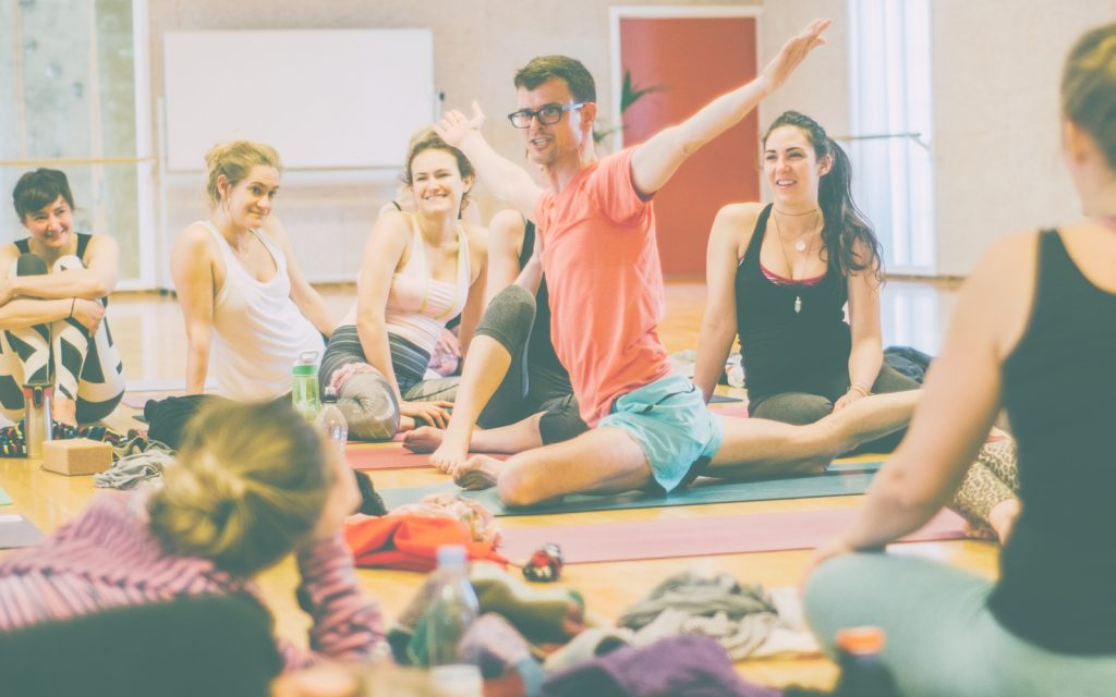 Stephen teaching yoga to a group in Aarhus, Denmark.