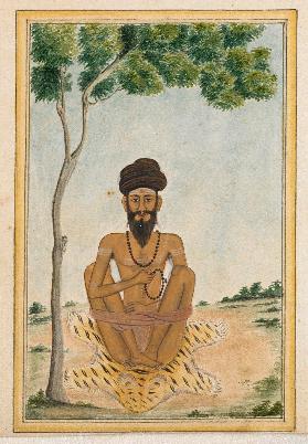 ancient yogi in sopasraya with yoga prop