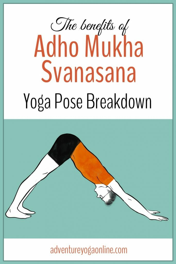pinterest image for the benefits of akho mukha svanasana