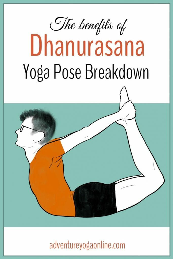 pinterest image for the benefits of dhanurasana