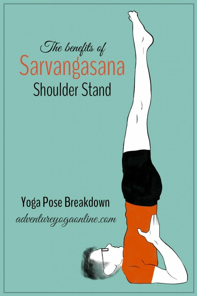 pinterest image for the benefits of sarvangasana shoulder stand pose
