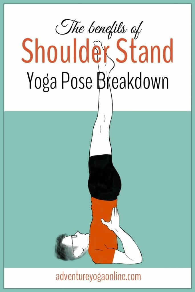 pinterest image for the benefits of shoulder stand
