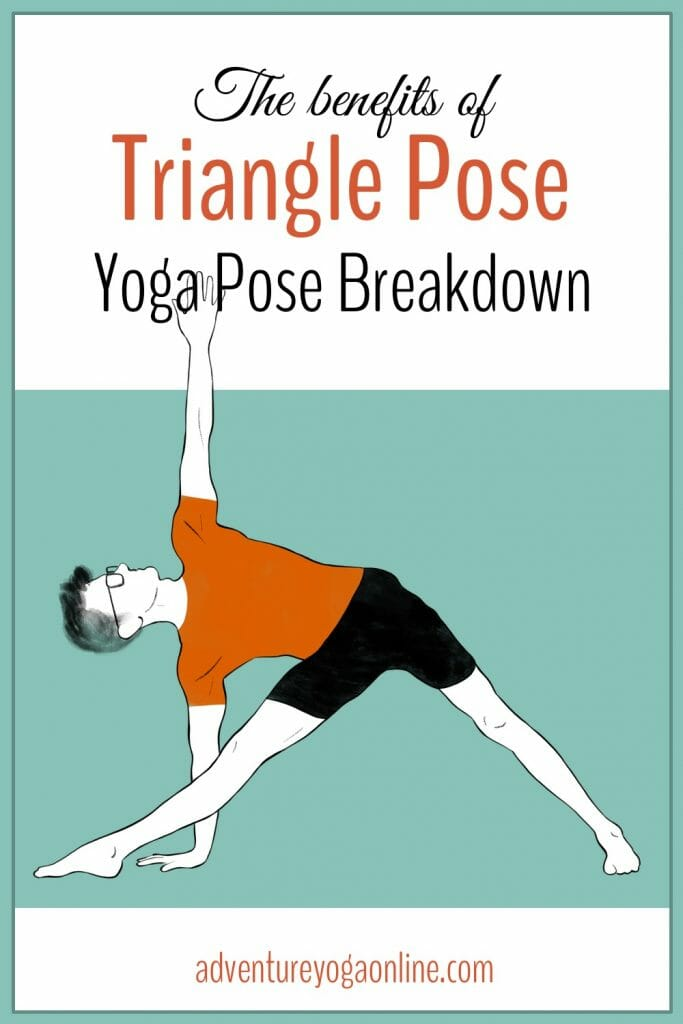 pinterest image for the benefits of triangle pose