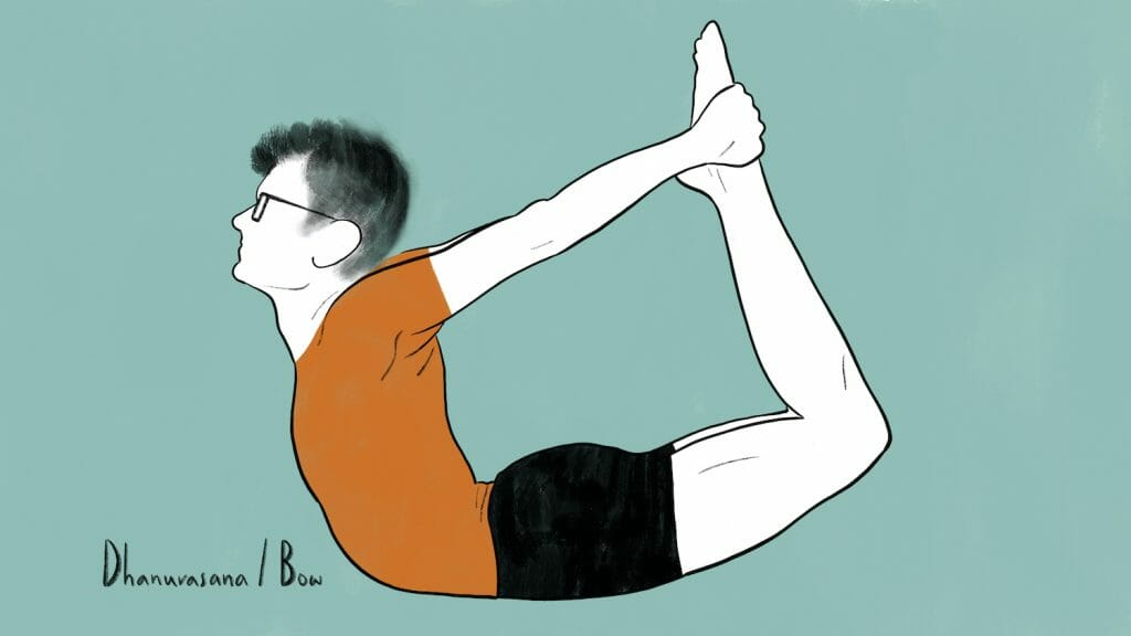 illustration of stephen doing dhanurasana bow pose