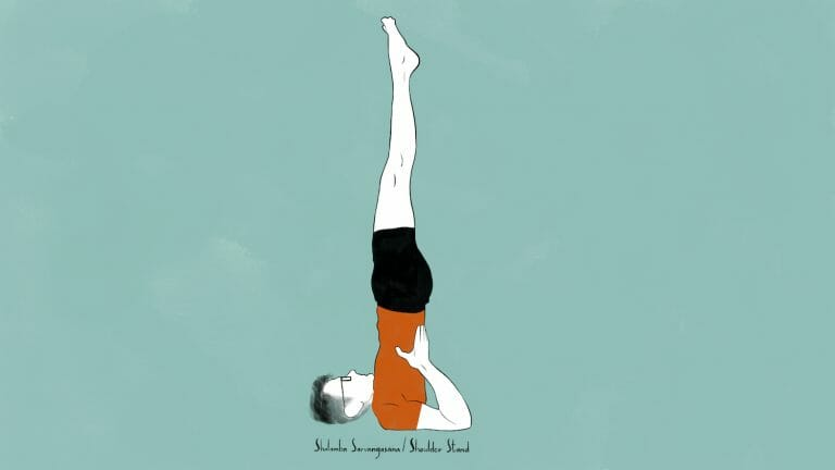 illustration of stephen doing shalamba sarvangasana shoulder stand