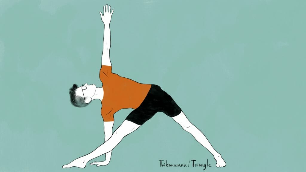 illustration of stephen doing trikonasana triangle pose