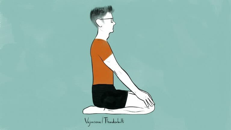 illustration of stephen doing vajrasana thunderbolt pose