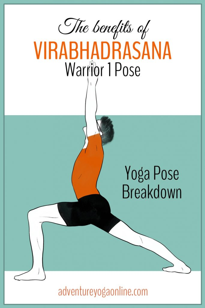 pinterest image for benefits of Virabhadrasana 1 pose