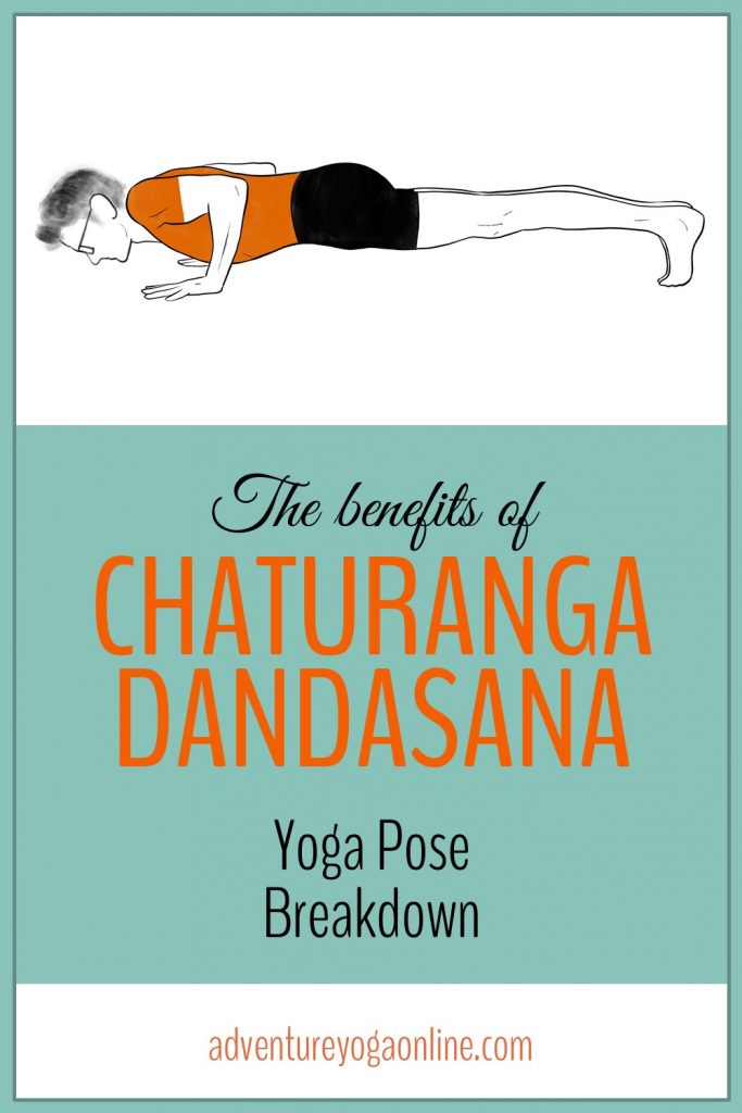 pinterest image for the benefits of chaturanga dandasana