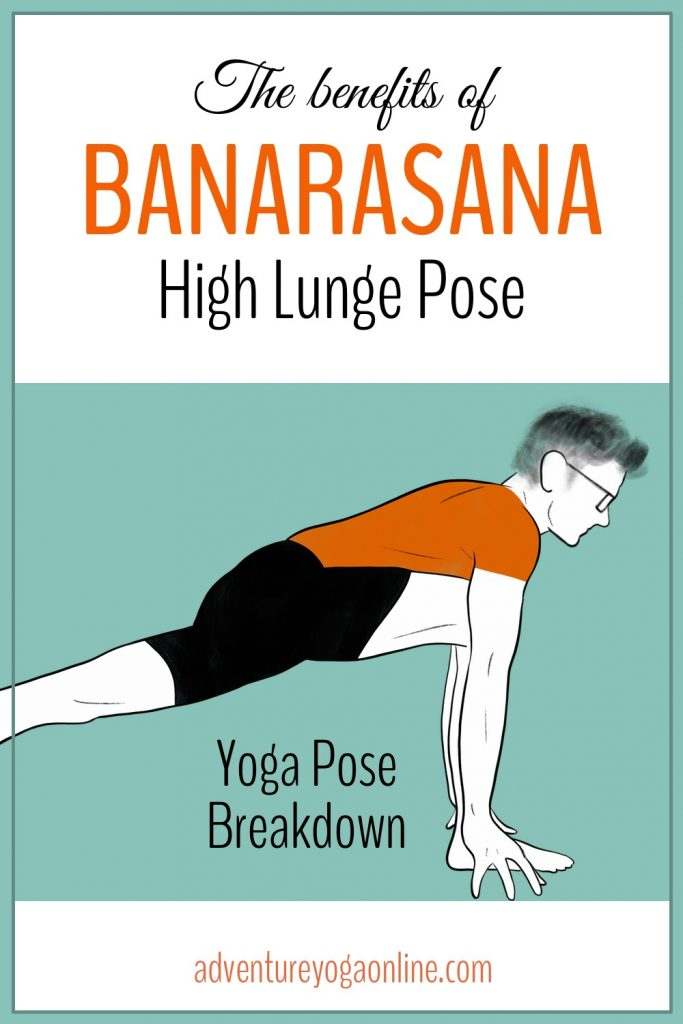 pinterest image for benefits of high lunge pose