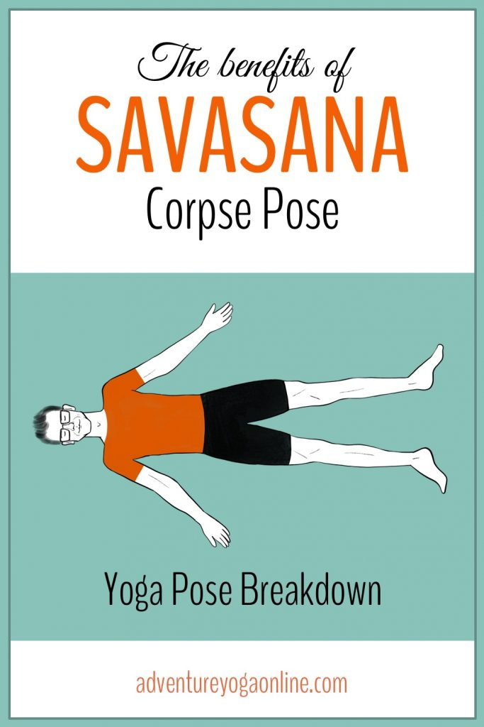 pinterest image for savasana benefits