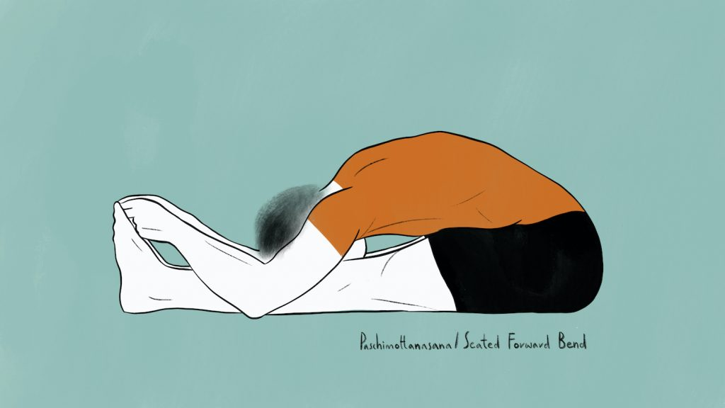illustration of stephen doing paschimottanasana seated forward fold