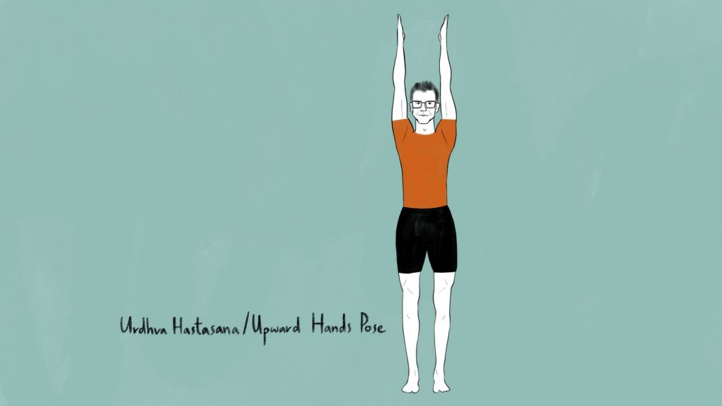 illustration of stephen doing urdhva hastasana upward hands pose
