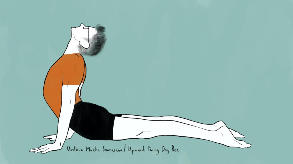 illustration of stephen doing urdhva mukha svanasana upward facing dog pose