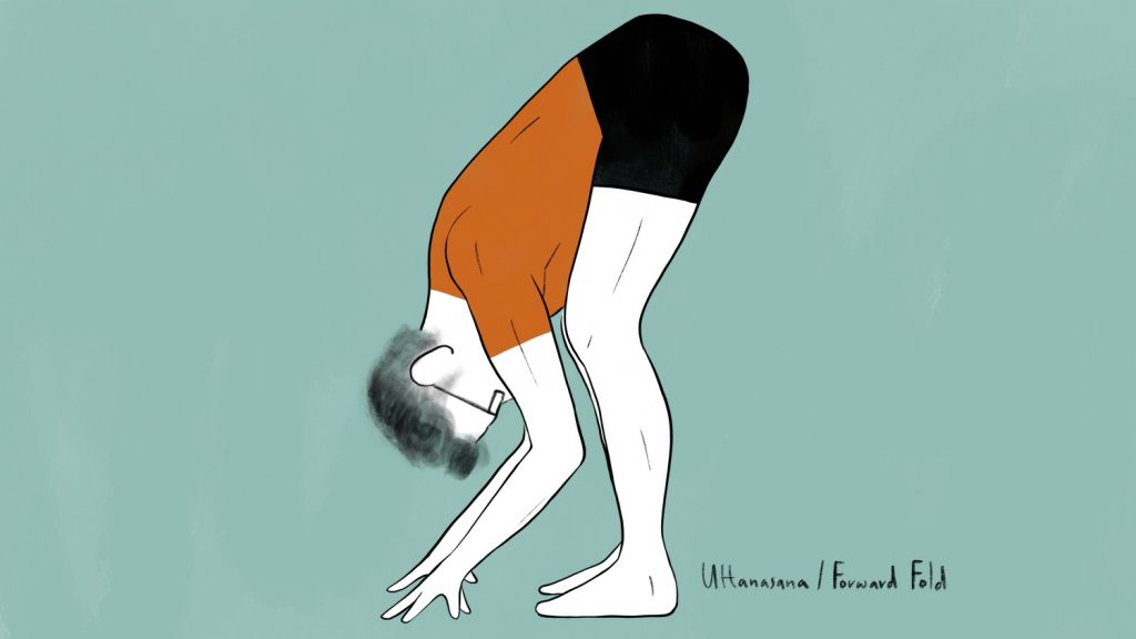 illustration of stephen doing uttanasana forward fold pose