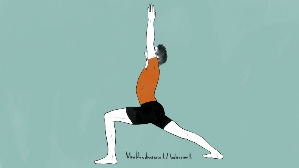 illustration of stephen doing virabhadrasana 1 warrior 1 pose