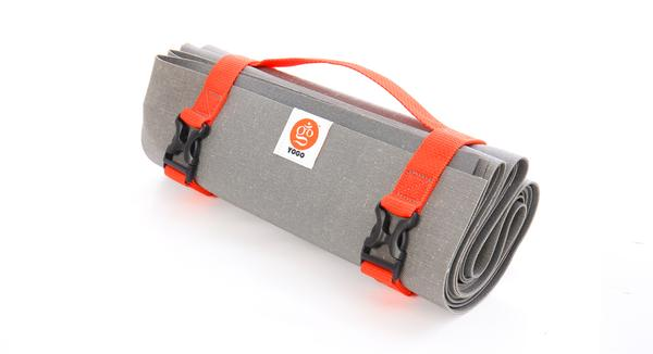 yogo travel yoga mat folded with carrying strap