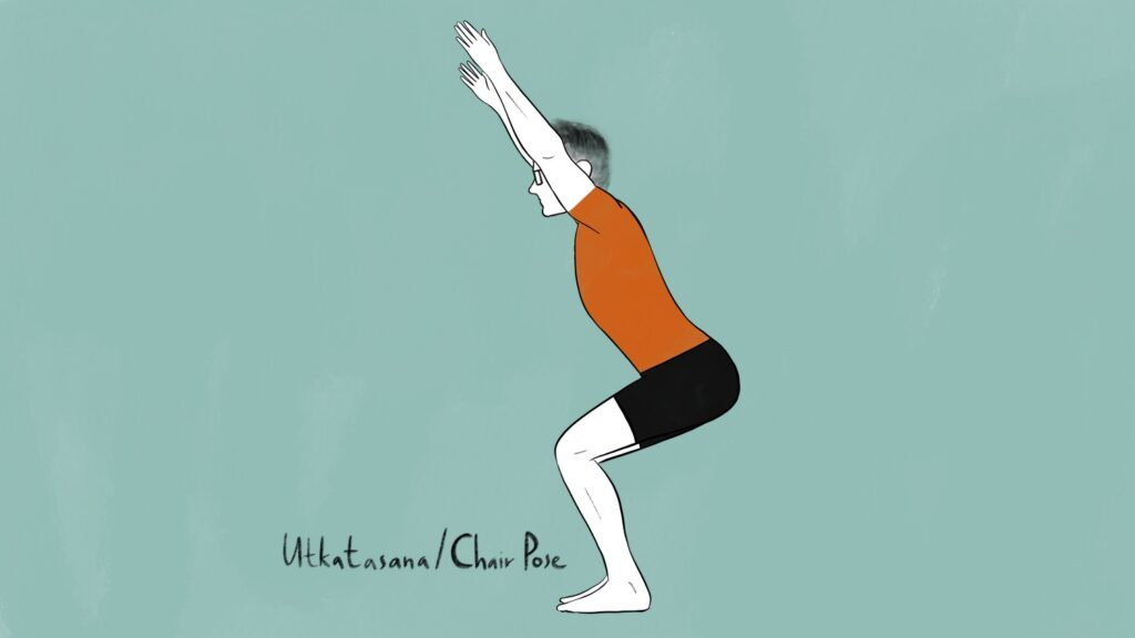 illustration of stephen doing utkatasana or chair pose