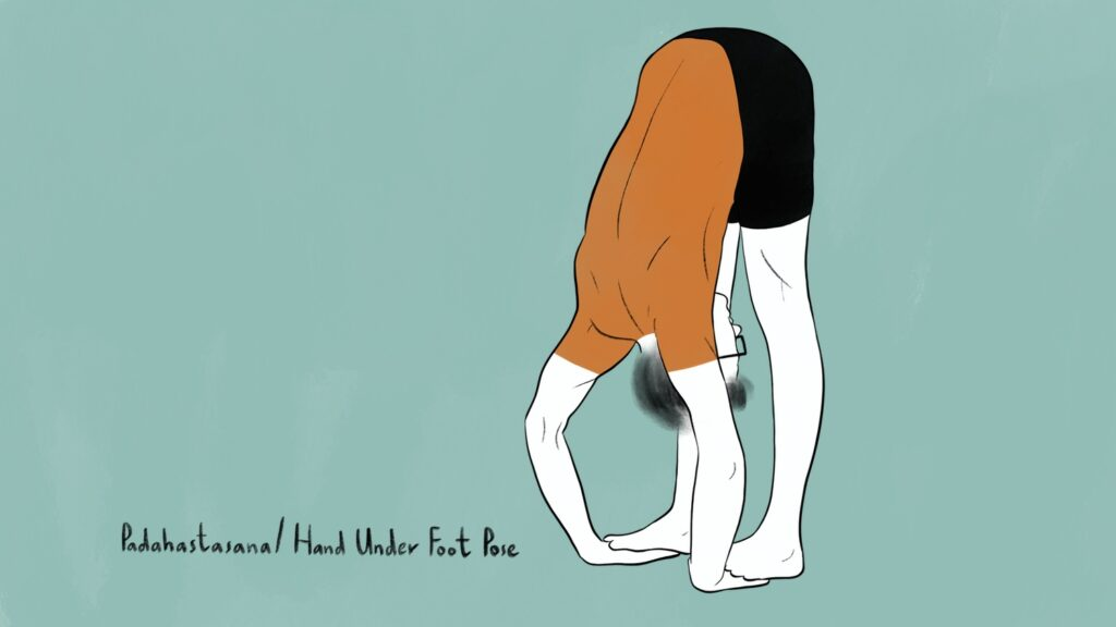 main blog image for padahastasana benefits illustration of man doing padahastasana pose