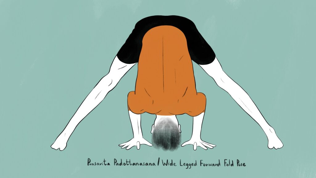 illustration of man doing prasarita padottanasana yoga pose