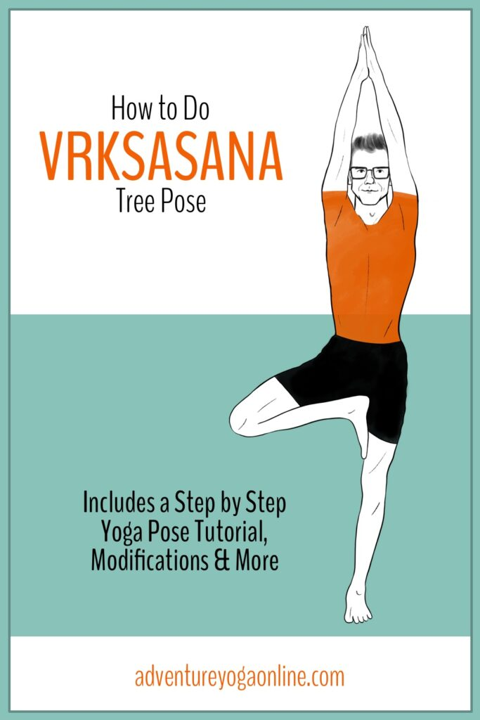 pinterest image for how to do vrksasana tree pose